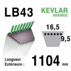 Courroie motoculture trapézoïdale 16.5mm x 1104mm ext. (LB43)