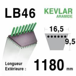 Courroie motoculture trapézoïdale 16.5mm x 1180mm ext. (LB46)
