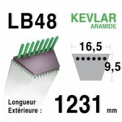 Courroie motoculture trapézoïdale 16.5mm x 1231mm ext. (LB48)