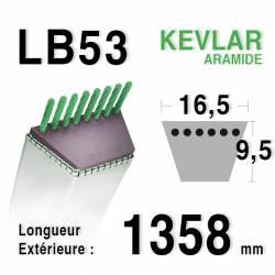 Courroie motoculture trapézoïdale 16.5mm x 1358mm ext. (LB53)
