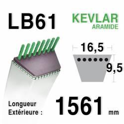 Courroie motoculture trapézoïdale 16.5mm x 1561mm ext. (LB61)