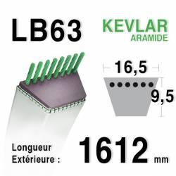 Courroie motoculture trapézoïdale 16.5mm x 1612mm ext. (LB63)