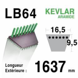 Courroie motoculture trapézoïdale 16.5mm x 1637mm ext. (LB64)
