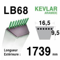 Courroie motoculture trapézoïdale 16.5mm x 1739mm ext. (LB68)