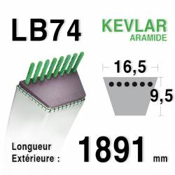 Courroie motoculture trapézoïdale 16.5mm x 1891mm ext. (LB74)