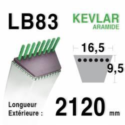 Courroie motoculture trapézoïdale 16.5mm x 2120mm ext. (LB83)