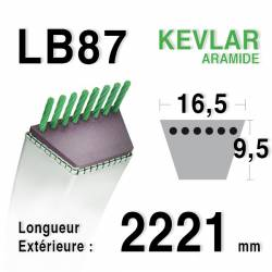 Courroie motoculture trapézoïdale 16.5mm x 2221mm ext. (LB87)