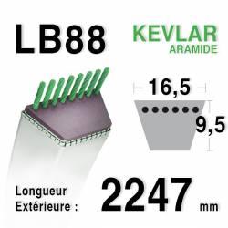 Courroie motoculture trapézoïdale 16.5mm x 2247mm ext. (LB88)