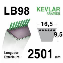 Courroie motoculture trapézoïdale 16.5mm x 2501mm ext. (LB98)