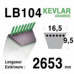 Courroie motoculture trapézoïdale 16.5mm x 2653mm ext. (LB104)