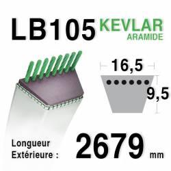 Courroie motoculture trapézoïdale 16.5mm x 2679mm ext. (LB105)