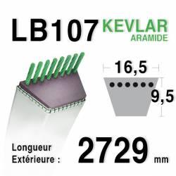 Courroie motoculture trapézoïdale 16.5mm x 2729mm ext. (LB107)