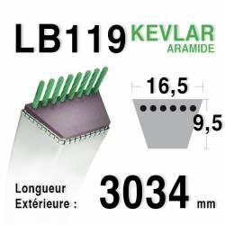 Courroie motoculture trapézoïdale 16.5mm x 3034mm ext. (LB119)